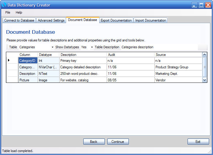 Database Dictionary Creator